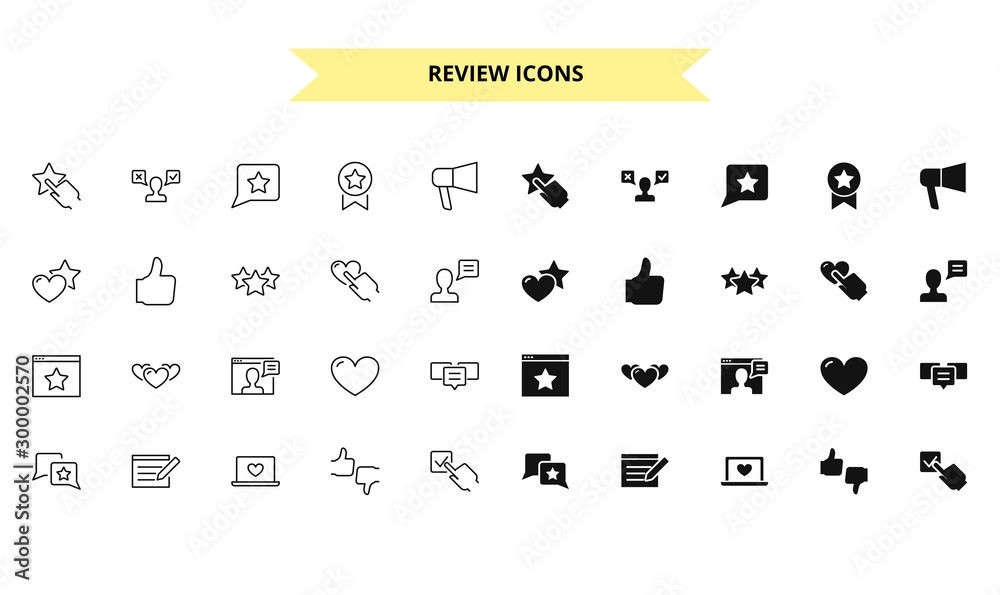 Fototapeta Review silhouettes and outline style vector icons set