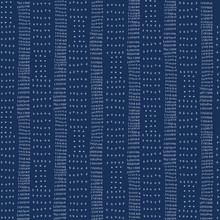Embroidery Stripe Sashiko Kantha Vector Pattern. Asian Needlework Seamless Background Indigo Blue Style. Vertical Running Hand Stitch Texture Textile Print. Japan Decor. Masculine Quilting Tile EPS 10