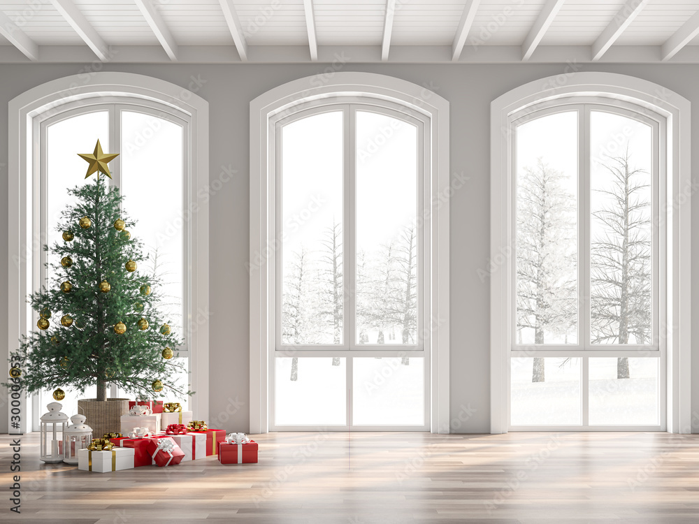 Fototapety, obrazy: Classical empty room decorate with christmas tree 3d render,The room has wooden floors and white wooden ceilings decorated with pine trees and gift boxes.The arched windows look out to the snow scene.