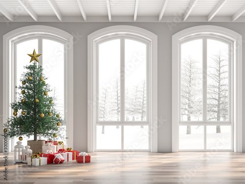 Fotomural  Classical empty room decorate with christmas tree 3d render,The room has wooden floors and white wooden ceilings decorated with pine trees and gift boxes