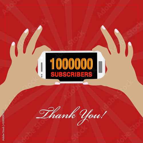 Hand holding cellphone, celebration banner/poster for 10Million subscribers/followers on social media, numbers showing on mobile phone screen Fototapeta