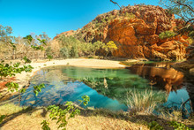 Aerial View Of Ellery Creek Big Hole Waterhole Fed By West MacDonnell Ranges And Surrounded By Red Cliffs. Starting Point For Sections 6 And 7 Of Larapinta Trail Walk In Northern Territory, Australia.