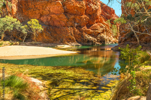 Fototapeta Permanent waterhole Ellery Creek Big Hole and geological site with red cliffs in West MacDonnell National Park, 80km from Alice Springs, Northern Territory, Central Australia. Australian outback. obraz