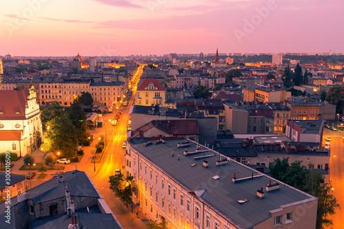 Wall Murals Light pink Sunrise over Bydgoszcz, Panorama of the city