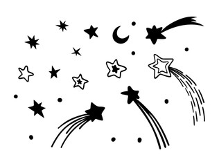 Stars and comets hand drawn set. Vector illustration.