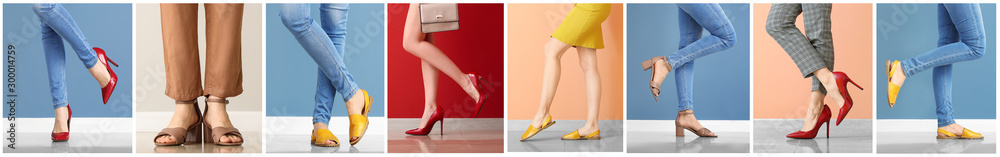 Fototapeta Collage with legs of young woman in stylish shoes