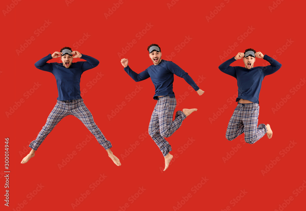 Fototapety, obrazy: Collage with jumping young man in pajamas on color background
