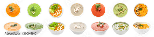 Fotografie, Obraz Collage with tasty cream soups in bowls on white background
