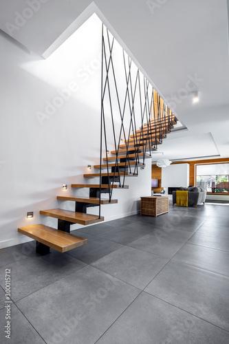 Obraz Modern interior design - stairs - fototapety do salonu