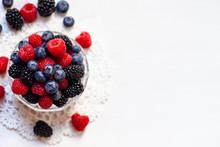 Ripe Seasonal Berries In Glass...