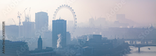 rooftop view over London on a foggy day from St Paul's cathedral, UK Canvas Print