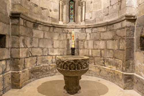 Baptismal font of the sanctuary of Our Lady of Estibaliz, Alava, Spain Wallpaper Mural