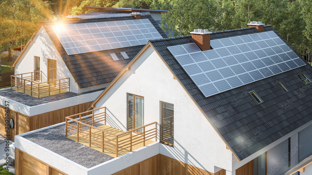 Fototapety, obrazy: Modern house with solar panels on the roof with sun flare
