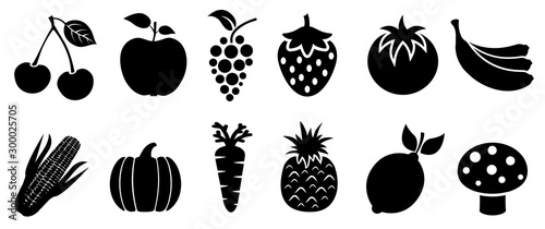 Autocollant pour porte Cuisine Set of fruits and vegetables icons. Variety products, healthy food collection of strawberry, apple, pineapple, cherry, grape, tomato, carrot, maize, pumpkin, lemon, banana, mushroom – stock vector