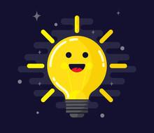 Happy Emotional Light Bulb Face - Vector.