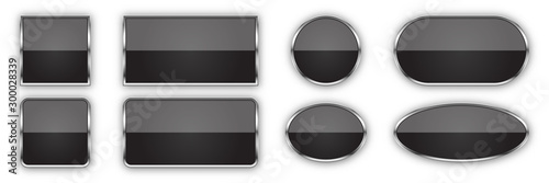 Cuadros en Lienzo Set of black glossy vector buttons.