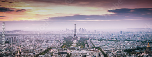 Canvastavla aerial view over Paris at sunset with iconic Eiffel tower