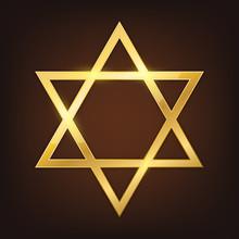 Vector Gold Star Of David.
