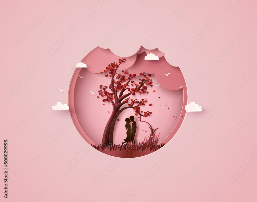 Fototapety, obrazy: Two enamored under a love tree