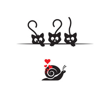 Cats Behind Table Watching Snail In Love Silhouette, Funny Illustration, Vector, Cartoon, Children Wall Decals, Kids Wall Artwork Isolated On White Background, Minimalist Poster Design