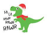 Fototapeta Dinusie - Vector illustration of cute dinosaur wearing a Santa hat and red scarf.