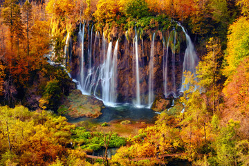 Fototapeta Wodospad Waterfalls of Plitvice National Park in Croatia