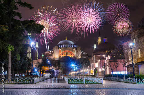 View of the Hagia Sophia at night with fireworks in Istanbul, Turkey Wallpaper Mural