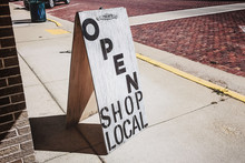 Open Shop Local Sign On A Wood...