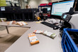 Bundles of counted euro € cash on the counting desk