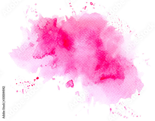 abstract watercolor background.splash color pink on paper. Canvas Print