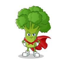 Broccoli Super Hero Mascot Vector Cartoon Illustration
