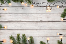 Christmas Lights Bulb And Pine...