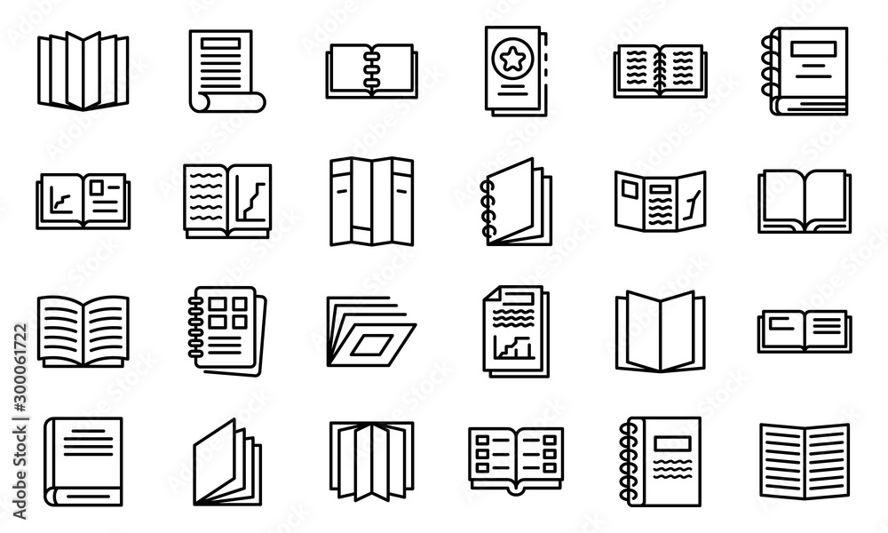 Fototapeta Catalogue icons set. Outline set of catalogue vector icons for web design isolated on white background