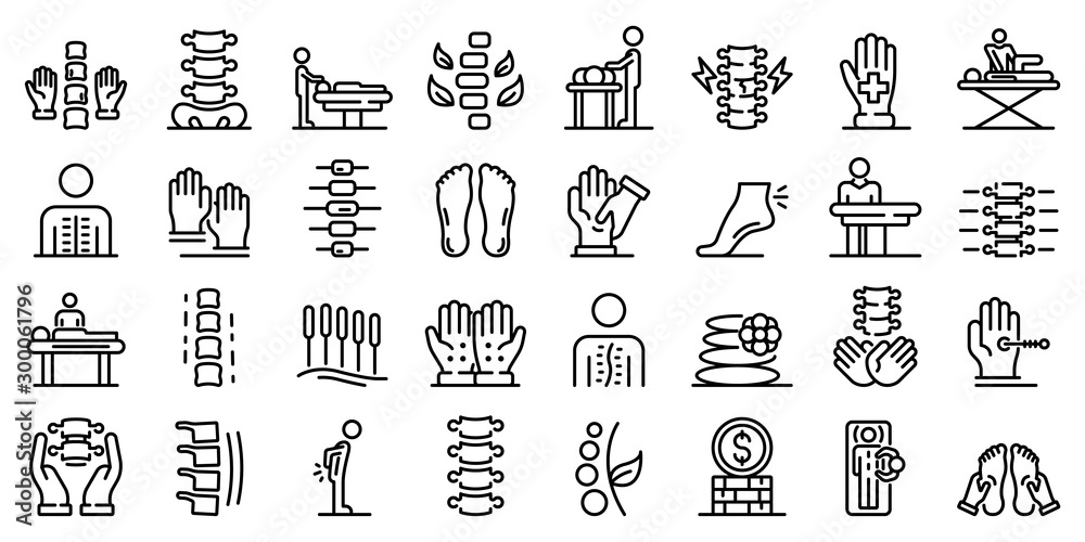 Fototapety, obrazy: Osteopathy icons set. Outline set of osteopathy vector icons for web design isolated on white background