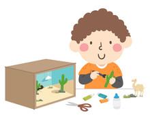 Boy Make Desert Ecosystem Diorama Illustration