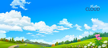 Big Blue Skies Over The Landscape Of Flowers, Meadows And Forests