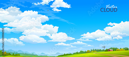 Obraz Country side view of the meadows and the clear blue sky - fototapety do salonu