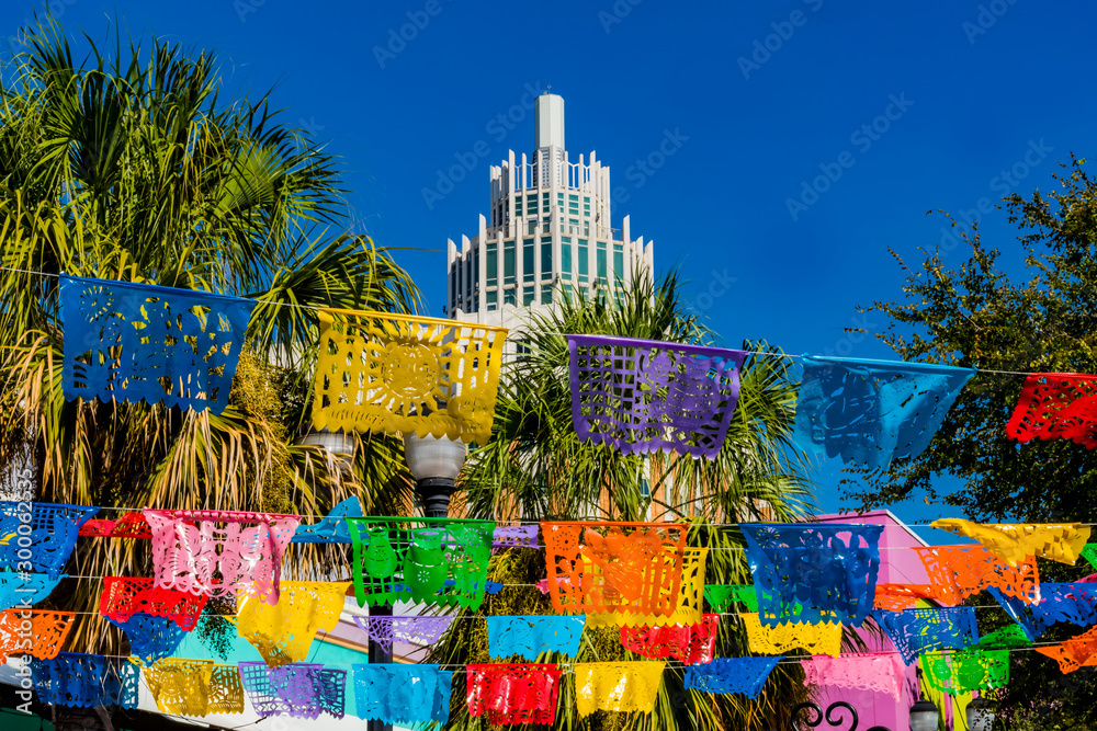 Fototapety, obrazy: Mexican Market Square Symbol Paper Decorations San Antonio Texas