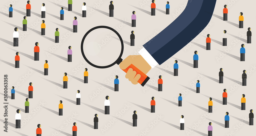 Fototapeta Hand magnify on crowd of people. Concept of recruitment candidate selection or market research looking into customer behavior survey getting data