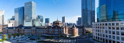 (東京都-風景パノラマ)青空の下の東京駅とビル群1 Canvas Print