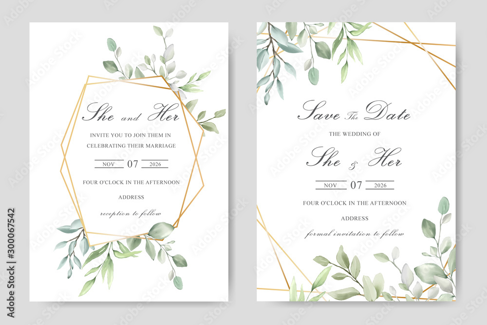 Obraz Elegant Watercolor Wedding Invitation Card With
