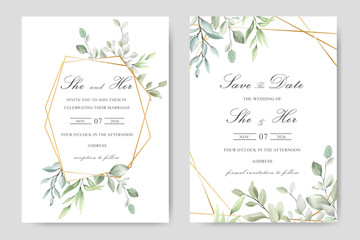 Elegant watercolor wedding invitation card with greenery leaves