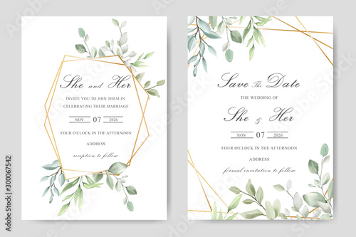 Photographie Elegant watercolor wedding invitation card with greenery leaves