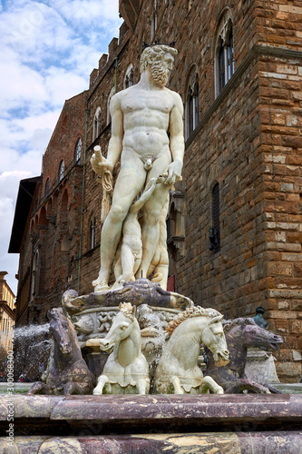 The figure of Neptune is a fragment of the fountain of Neptune on Signoria Squar Canvas Print