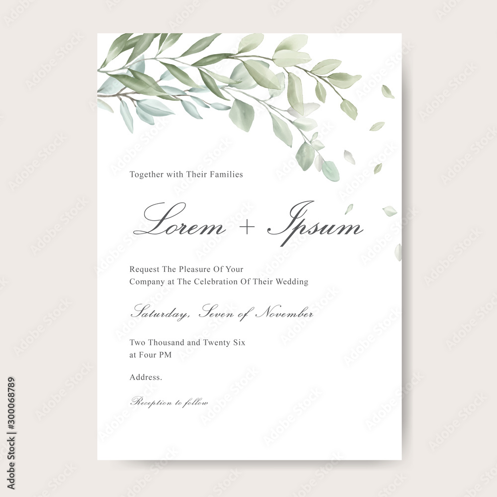Fototapety, obrazy: Elegant watercolor wedding invitation card with greenery leaves