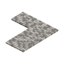 Layout Example Of Paving Slabs.Vector Isometric And 3D View.