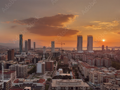Foto auf AluDibond Paris City izmir Folkart Sun Landscape Drone Photo