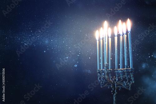 Religion image of jewish holiday Hanukkah background with menorah (traditional c Canvas Print