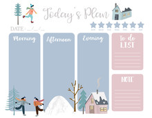 Cute Today Plan Background With House,snow,people,tree.Vector Illustration For Kid And Baby.Editable Element