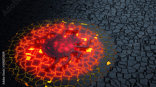 Fotografía  Bug in the center of a glowing circuit board cybersecurity concept 3D illustrati